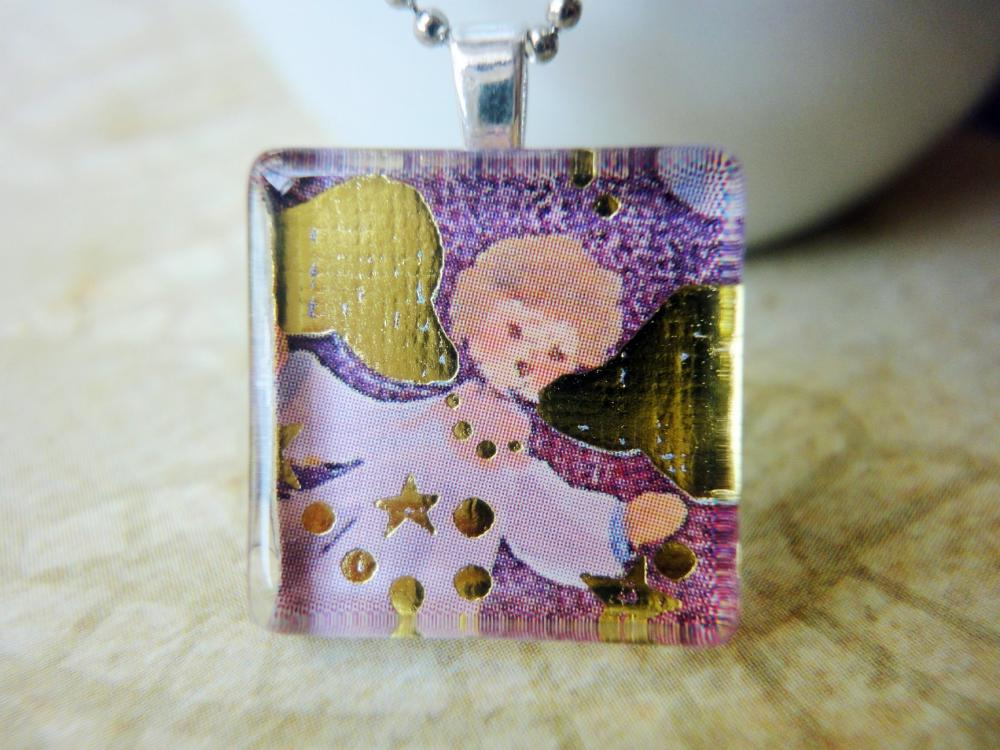 Handmade Jewelry Glitter Christmas Angel Glass Tile Pendant