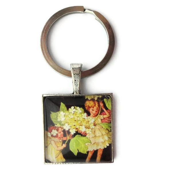 Guelder Rose Fairies Antique Flower Glass Keychain or Necklace