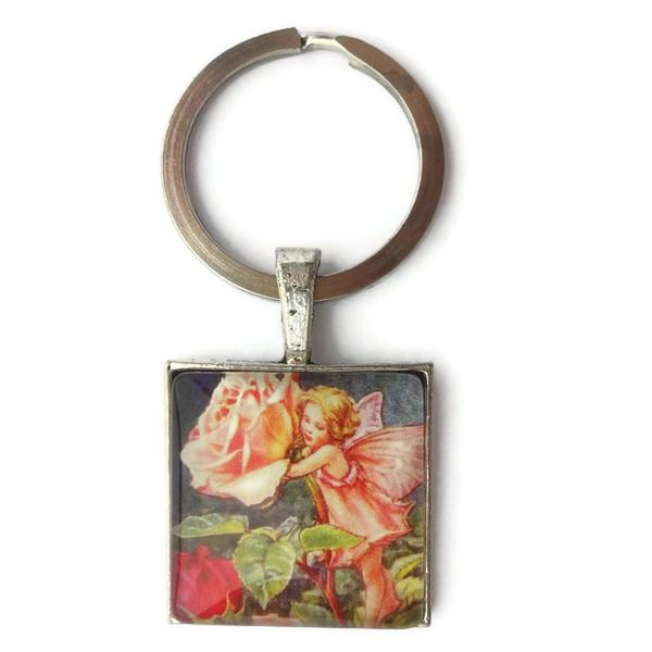 Flower Pink Rose Fairy 1 inch Glass Necklace or Keychain Zipper Pull