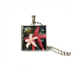 Red Pink Star Fishes Glass Antique Silver Pendant Underwater Life Keychain