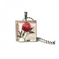 Nature Antique Flower Red Rose Glass Silver Necklace Handmade Gifts Keychain