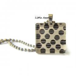 Faded Dark Brown Polka Dots Square Glass Tile Pendant