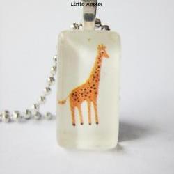 Orange Giraffe Toy Box Domino Glass Tile Pendant
