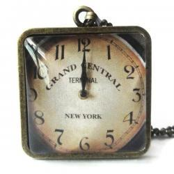 Antique Brass Grand Central Terminal Replica Clock 1 inch Glass Pendant