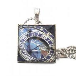 14th Century Famous Prague Astronomical Clock Glass Tile Pendant Necklace or Keychain