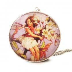 Antique Print Wild Cherry Blossom Flower Fairy Silver 30mm Glass Pendant